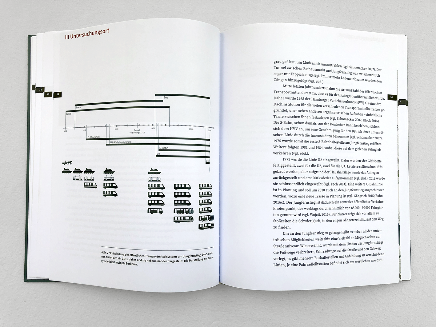Extract from my Master thesis on different wayfinding systems within Hamburg: Visualization of the development of public transport in Hamburg over time.